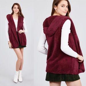Reg & Plus Fuzzy Hooded Vest w/ Pockets